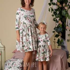 komplet sukienek lea dla mamy i córki rozmiar 40 68/74, kwiaty, sukienki