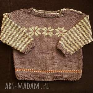 Sweterek Czekoladowo-miodowy , sweterek, rękodzieło, bawełna, len