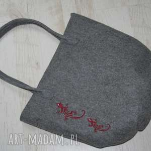 torebka do ręki , haft jaszczurki, torba, filc,