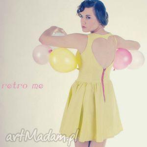mrs lonely, retro, sukienka, limonka, serce sukienki