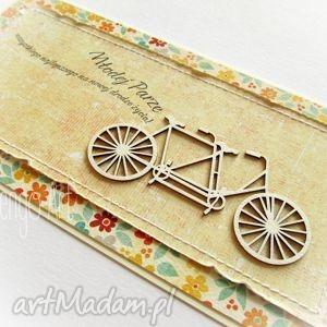 wyjątkowy prezent, kolorowa kartka z tandemem, tandem, kartka, ślubna, życzenia
