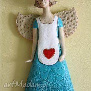 ręcznie wykonane ceramika anioł w fartuszku