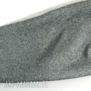 czapki opaska handmade niebieska-szara-grafit melanż, wełna, opaska, melanż