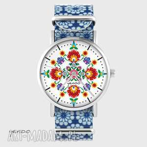 hand-made zegarki zegarek - folkowa mandala niebieski, kwiaty, nato