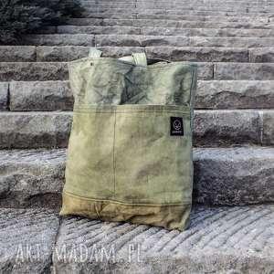 torba canvas khaki ręcznie farbowana, oliwkowa, wytrzymała torba