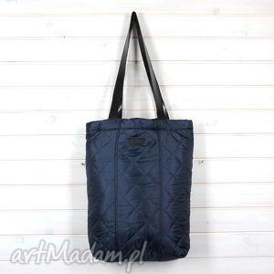 na ramię torba pikowana shopperka granatowa, torba, shopperka, pojemna, pikowana, pik