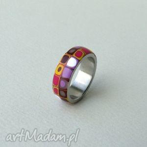 hand-made obrączki kolorowa obrączka, stal z polymer clay