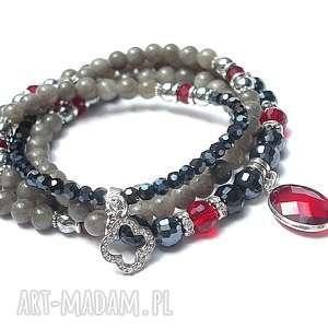 naszyjnik 3 w 1 /grey -red/ , marmur, kryształki, choker