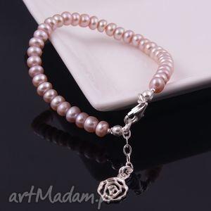 Bransoletka z naturalnych pereł - ,bransoletka,perły,naturalne,srebro,biżuteria,