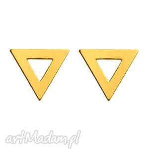 złote kolczyki trójkaty - trójkąty, blogerskie kobiece