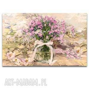 obraz na płótnie powojnik i różowe niezapominajki w słoju