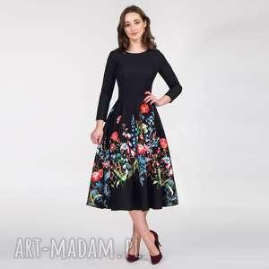 ręcznie zrobione sukienki sukienka star 3/4 total midi malwina