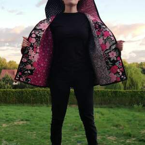 płaszcze płaszcz patchworkowy krótki z kapturem - waciak, płaszcz, kimono