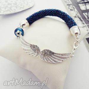 Angel, bransoletka, koralikowa, zkoralików, angel, skrzydła