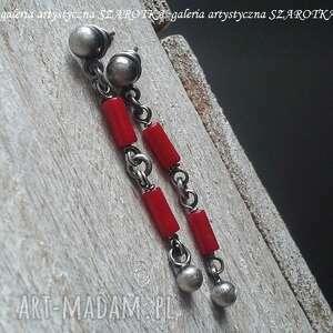 czerwone przegubowce kolczyki z korala i srebra, koral, srebro oksydowane