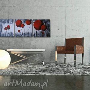 dmuchawce czerwone 2 - 150x50cm obraz duży ręcznie malowany, obraz, czerwony