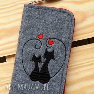 hand made kartki filcowe etui na telefon - zakochane koty
