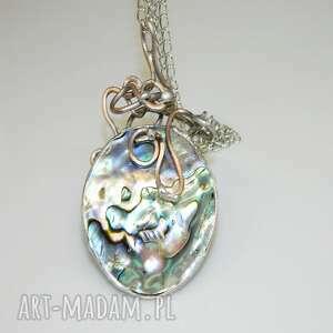 święta, muszla paua-n54-n60, wisior, metaloplastyka, muszla, unikatowa biżuteria