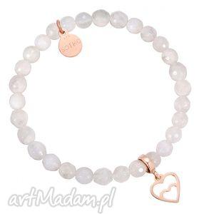 biała bransoletka z kamienia księżycowego zdobionego - różowe złoto