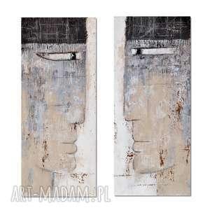 the guardians, abstrakcja, nowoczesny obraz ręcznie malowany, postacie, głowy
