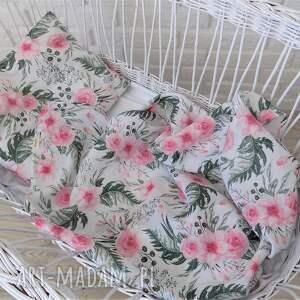 tetrowy otulacz- rÓŻowe kwiaty - otulacz, kocyk, poduszka, niemowle, dziecko