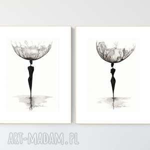 zestaw 2 oryginalnych grafiki a4 czarno-białych, abstrakcja, elegancki minimalizm
