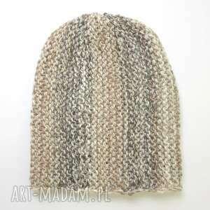 czapka typu beanie w beżach - beżowy, brązowy