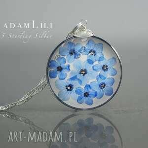 naszyjniki 925 prawdziwe kwiaty niezapominajki srebrny łańcuszek, biżuteria