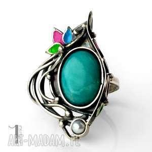 Primavera srebrny pierścionek z amazonitem i perłą , srebro, amazonit, perła