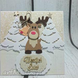Święta z rudolfem - święta, renifer, choinka, rudolf