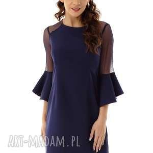 sukienka szerokimi rękawami i tiulowymi wstawkami granatowa, elegancka