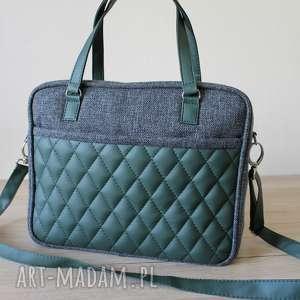 torba miejska - tkanina antracyt i skóra ciemna zielona, elegancka, nowoczesna