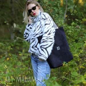 duża czarna wodoodporna zamszowa torba na ramię, wodoodporna, kolorowe, rączki