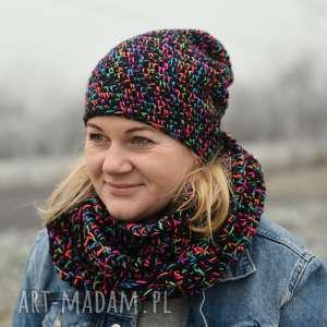 kolorowy komplet zimowy, czapka, komin, zima, antyalergiczny, ręcznie