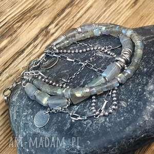 bransoletka srebrna z labradorytami, srebro, srebro oksydowane, biżuteria