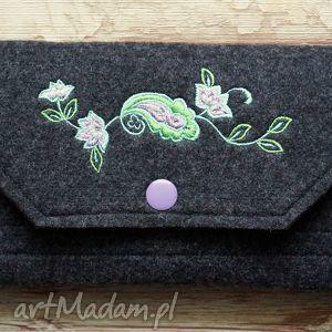 portfele duży filcowy portfel, haft, kwiatki, zakupy, prezent, filcowy