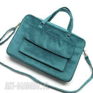 torba na laptop z kieszonką - tkanina tłoczona morska - elegancka, nowoczesna