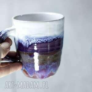 handmade kubek ceramiczny średni - lavender -fioletowo biały 350ml /12