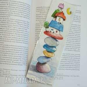 zakładki ręcznie malowana zakładka do książki-miasteczko-wymiary 7/21,5 cm
