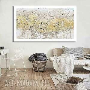 obraz na płótnie wiosenna abstrakcja z marginesem 140x80, jasne, kwiaty