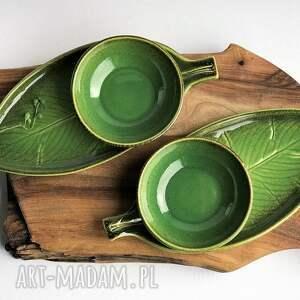 ręcznie zrobione ceramika zestaw ceramiczny dla dwojga - 2 x talerz liść plus