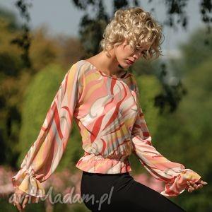 bluzka kimonowa rz, bluzka, kimonowa, elegancka, różowopastelowa, lejący