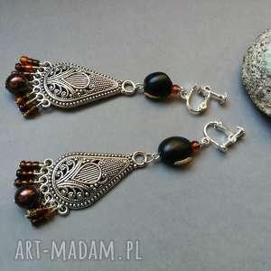 klipsy orientalne eleganckie w stylu boho, klipsy, etno, kolorowe