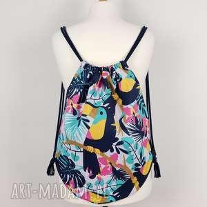 plecak worek z tukanem - ,plecak,worek,tukan,monstera,tropikalny,wakacyjny,