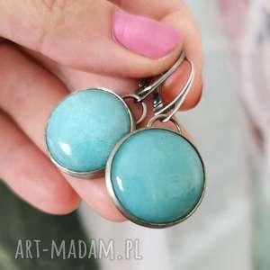 kolczyki srebrne z niebieskimi kamieniami - nadia a755, okrągłe