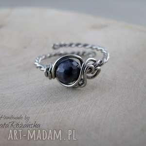 handmade pierścionki pierścionek regulowany szafir, wire wrapping