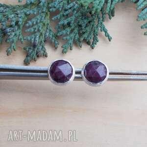 Rubinowe klasyczne - kolczyki jewelsbykt srebro kolczyki