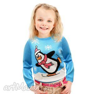 ubranka sweterek świąteczny dziecięcy - pingwinek jasny, śmieszny, zabawny, prezent