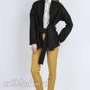 Wełniany płaszczyk, ZA115 czarny, wiązany, kieszenie, casual, rękawy, pasek