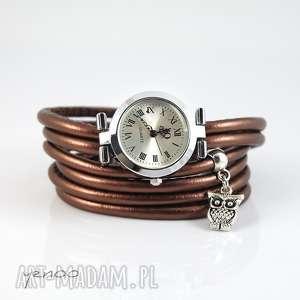 zegarek, bransoletka - brązowy sowa, rzemienie, unikatowa